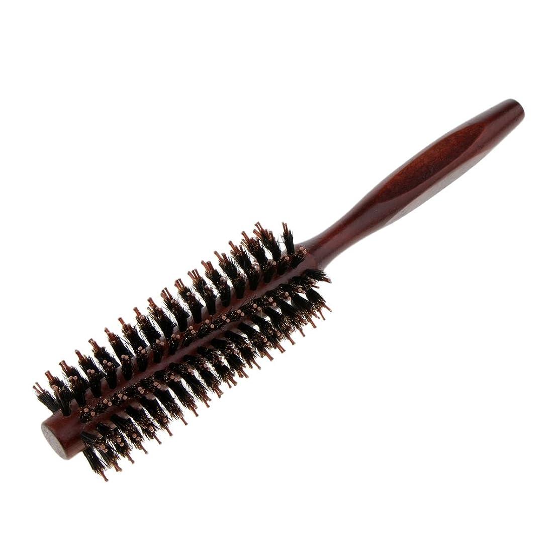 再編成するブラジャースパンPerfeclan ラウンドヘアブラシ 木製ハンドル 丸い 櫛 自然な毛 整髪 ヘアブラシ 2タイプ選べ - #2