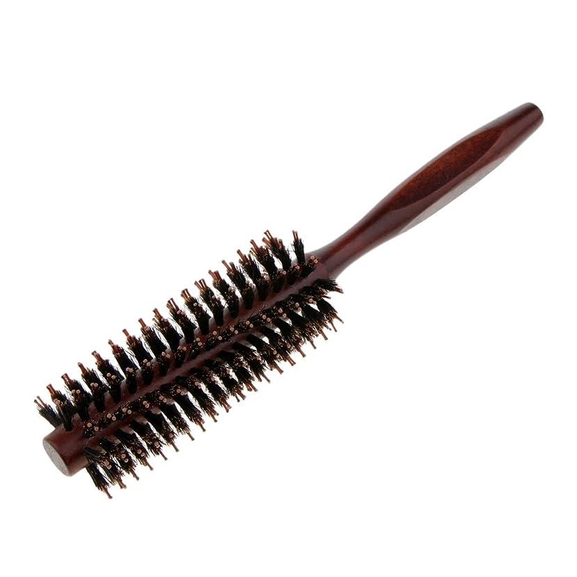 精神医学聴く肉腫Perfeclan ラウンドヘアブラシ 木製ハンドル 丸い 櫛 自然な毛 整髪 ヘアブラシ 2タイプ選べ - #2