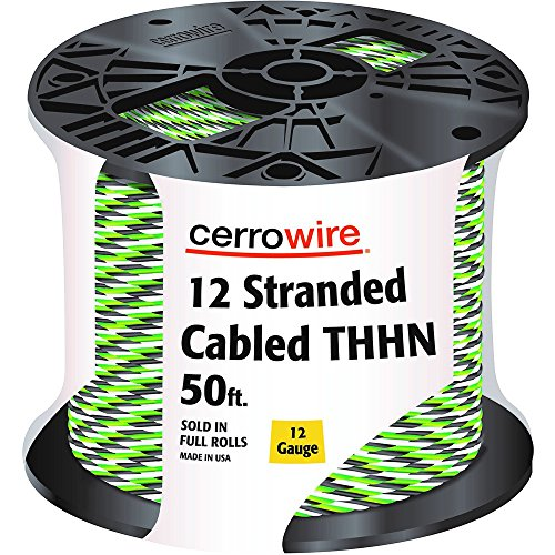 CERRO 112-361253B 50-Feet 12 Gauge Stranded Cabled THHN Black, White and Green Wire, Foot