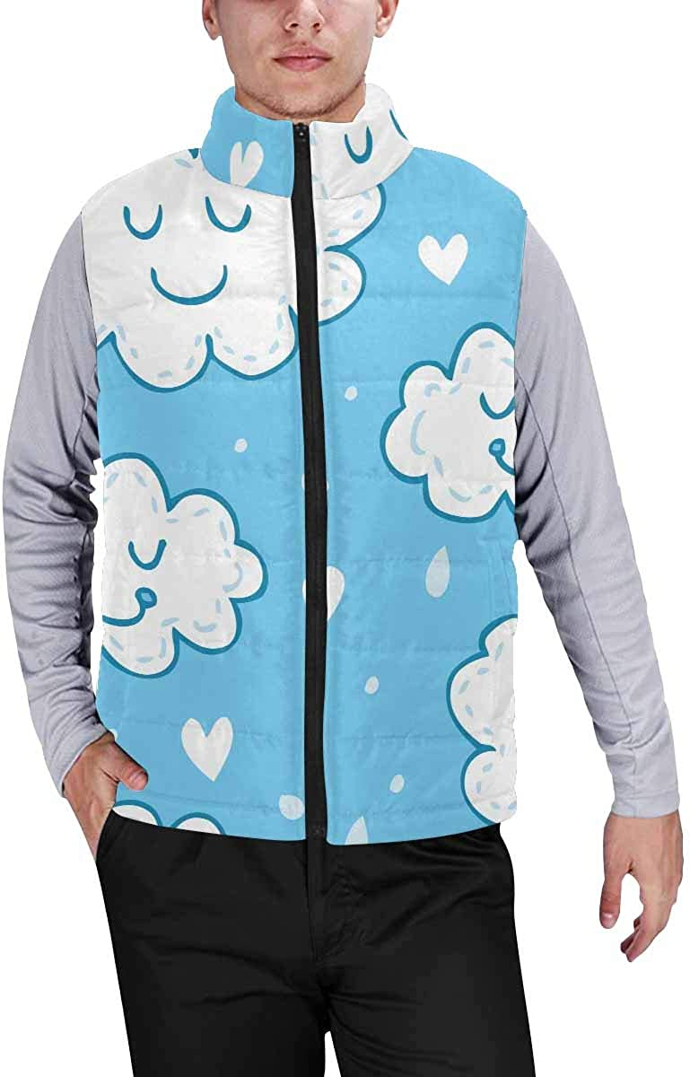InterestPrint Men's Outdoor Casual Stand Collar Padded Vest Coats Cute Cat for Halloween Day