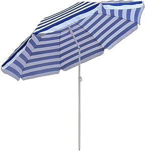 Greenbay patio giardino spiaggia ombrellone ombrellone inclinabile esterno pieghevole blu-bianco 160cm
