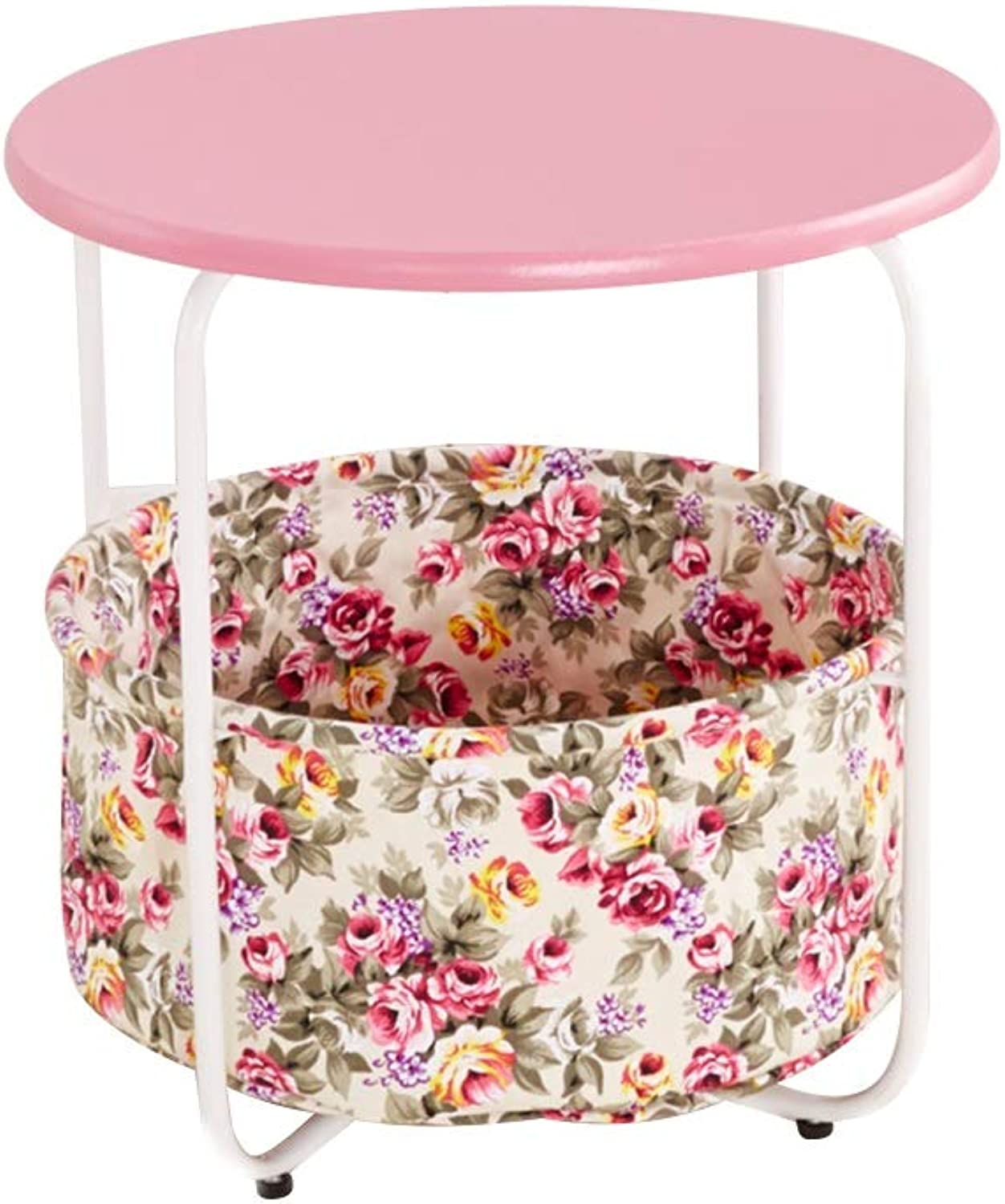 Coffee Table Small Coffee Table, Spacious Countertop with Storage Bag Solid Wood Telephone Table for Living Room Bedroom (color   Pink)