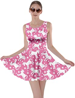 Womens Fun Outfit Unicorn Fancy Party Castle Princess Party Skater Dress, XS-5XL