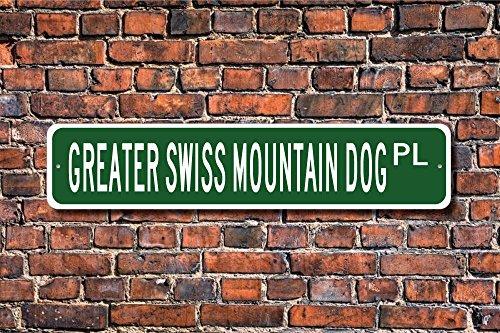 Aersing Une Plus Grande Swiss Mountain Dog Lover Une Plus Grande Suisse de Montagne Panneau Chien Panneau Art Mural décoratif Plaque Post Plaque de Rue 45 x 10 cm