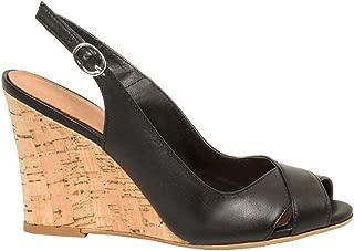 Leather Slingback Wedge Sandal