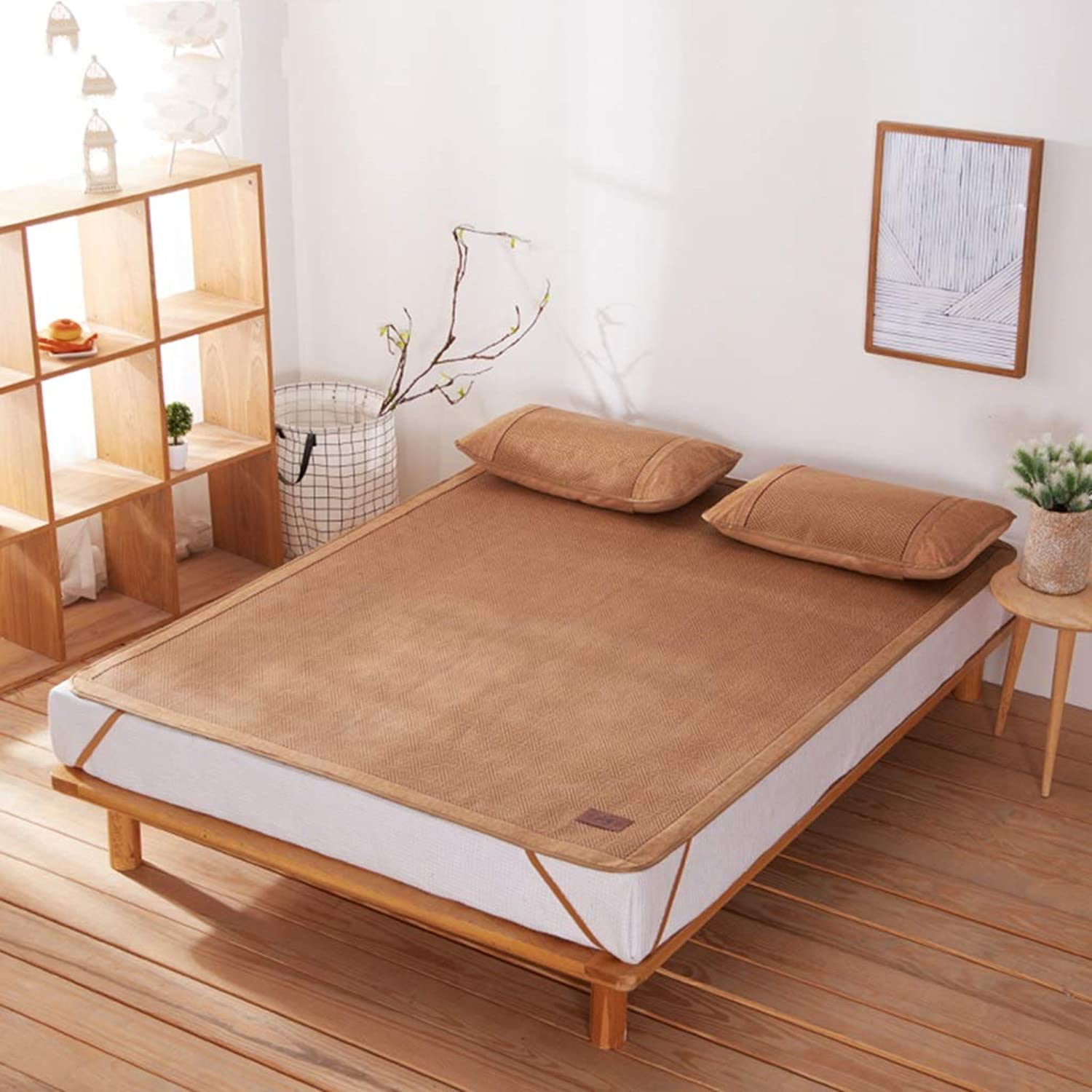 Vine Mat Bamboo Mat Ice Silk Double Bed Foldable (1.5 M Bed   1.8 M Bed) (color   Brown, Size   150  195cm)