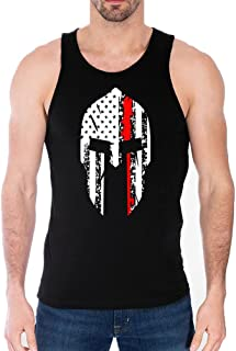 Thin Red Line Firefighter Spartan Helmet - USA Flag Military American Distressed - USA Pride - Tank Top