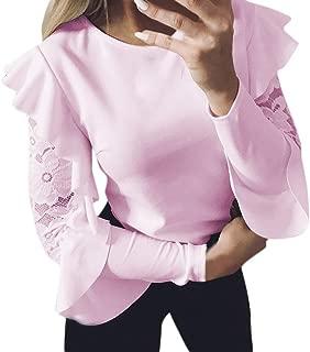TOPUNDER 2018 Ruffle Long Sleeve T Shirt for Women Lace Crewneck Top Loose Blouse Evening