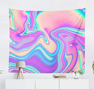Marbled Vibrant Wall Tapestry,Tapestry Wall Hanging Marbled Texture Vibrant Neon Abstract Art Backdrop Blue WallArt for Bedroom WallDecor Tablecloth Dorm Decor 60x50 Inches, Marbled Vibrant