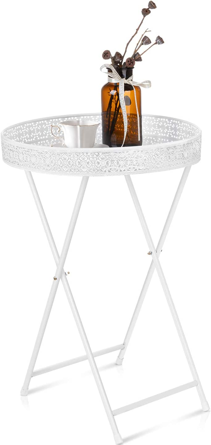 Antique Finished Style White Round Side End Table, Sofa Table, Tray Snack Table, Metal, Anti-Rusty, Outdoor and Indoor Multi-use, Scandinavia Style Coffee Table for Living Room Bedroom Balcony Office
