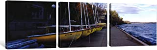 iCanvasART 3 Piece Sailboats in a row, University of Wisconsin, Madison, Dane County, Wisconsin, USA Canvas Print by Panor...
