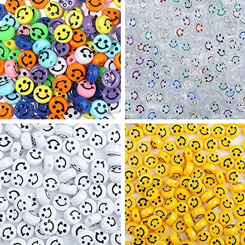 Cuentas de Números Abalorios de Cara Sonriente, Cuentas de Acrílico A-Z Happy Face para DIY Fabricación de Joyas Pulseras Collares Llaveros Regalo Hecho a Mano (Smiley)
