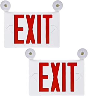 LED Red Exit Sign with UL Listed Emergency Light, Dual Voltage Operation 120V/277V, Battery Included, Top-Side-Back Mount Sign Light for Hotels, Restaurants, Shopping Malls, Hospitals