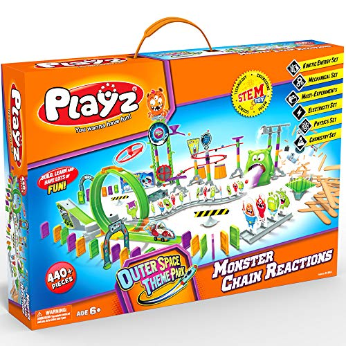 Playz Monster Chain Reactions Marble Run Science Kit STEM Toy with Race Tracks for Boys amp Girls Kids Roller Coaster Toy Experiments Outer Space Theme Park Boy Toy Girl Toy Educational Gift