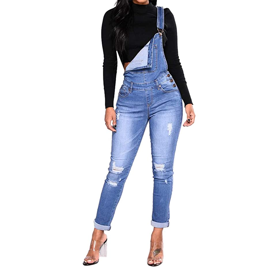 Thenxin Womens Adjustable Strap Ripped Denim Overalls Distressed Stretch Bib Jumpsuit Jeans Pants