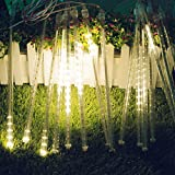 SOCO Outdoor Christmas String Lights Solar Powered LED Meteor Shower Rain Light Falling Raindrop Light 8 Tubes 288 LED Cascading Fairy Light for Christmas Tree Garden Wedding Party Decor (Warm White)