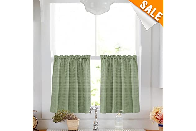 Lazzzy Olive 24 Kitchen Curtains For Bathroom Sage Green Curtain Set Waterproof Half Window Waffle Weave Textured Tiers 2 Panels Cafe