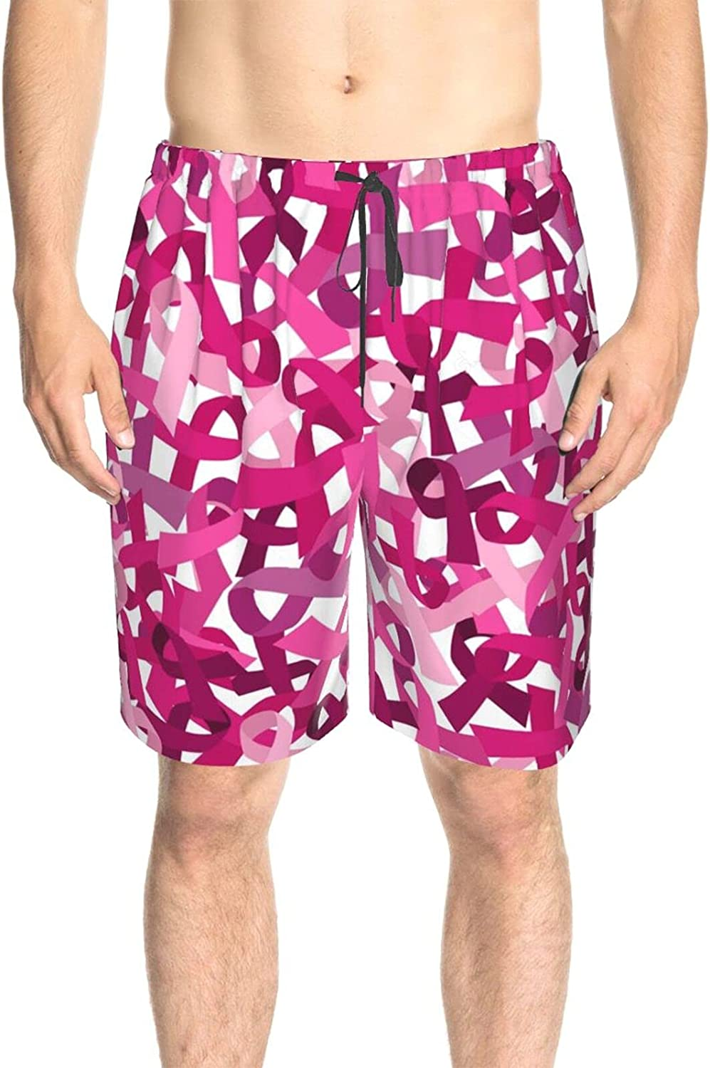 JINJUELS Mens Swim Trunks Breast Cancer Pink Ribbon Bathing Suit Boardshorts Quick Dry Comfy Summer Boardshorts with Lining