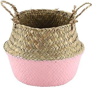AUNMAS Panier de Rangement Pliable Natural Seagrass tissé vêtements Organisateur de Stockage Fleur Plante Pot Panier Home ...