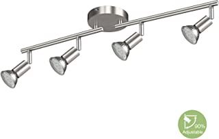 Creyer LED Track Lighting, 4-Light Ceiling Spot Lighting, Flexibly Rotatable Light Head,Modern Light Fixture Wall Accent Spotlight, Matt Nickle, GU10 Socket (Bulbs Not Included)