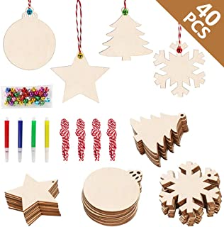 Round Blank Wood Discs Bulk with Holes for Crafts Centerpieces 20 Pieces Unfinished Wooden Christmas Cutouts Ornaments to Paint