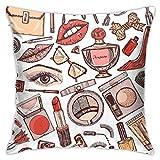 Cup Off Throw Pillow Cover Background Collection Cosméticos para Maquillaje Set Doodle Una colección de Fundas de Almohada Femeninas Fundas de cojín, 45 × 45 cm