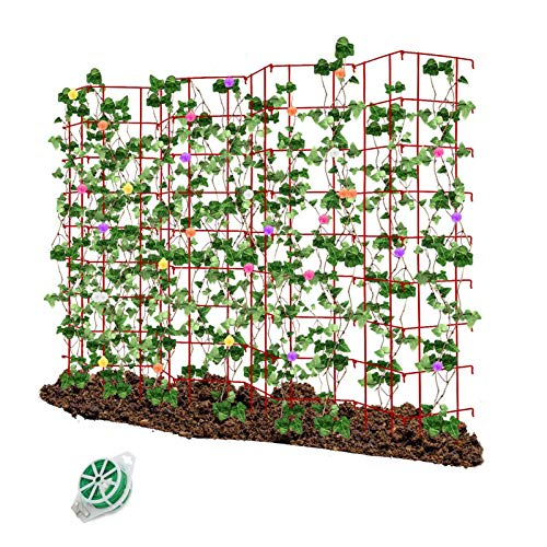 CEED4U 64 Inches Height Red Expandable Pea Trellis with 328 Feet Garden Twist Ties, Steel Plant Supports for Climbing Peas and Other Vining Crops