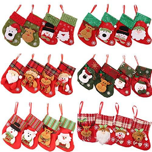 Snsunny 24 Unidades Mini Calcetines de Navidad Bolsa de Regalo azúcar Bolsa de Navidad Colgante Calcetines para árbol de Navidad, hogar, jardín decoración 16 x 12 cm