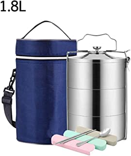 WCHCJ Lunch Box, Stackable Insulated Stainless Steel Lunch Container with Portable Lunch Bag, Large Capacity (Size : 1.8B)
