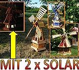 PREMIUM Windmühle Solar, Garten- und Teich-Windmühle 100 cm, zweistöckig 2 Balkone aus Holz, garten windmühlen mit Seitenruder/Windfahne, komplett mit Solar, Solarbeleuchtung DOPPEL-SOLAR LICHT WMH10