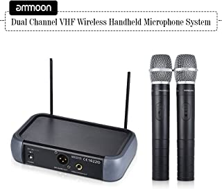 ammoon Dual Channel VHF Wireless Handheld Microphone System with Echo Function 2 Microphones & 1 Receiver 6.35mm Audio Cable for Karaoke Family Party Performance Presentation Public Address