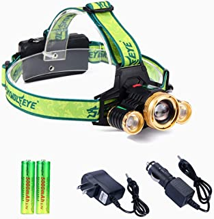 SKYWOLFEYE Headlamp, Brightest High 6000 Lumen Zoomable LED Work Headlight with 18650 Rechargeable Batteries, Wall Charger,Car Charger,for Camping,Hiking, Outdoors