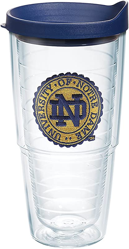 Tervis 1275223 Notre Dame Fighting Irish Seal Tumbler With Emblem And Navy Lid 24oz Clear