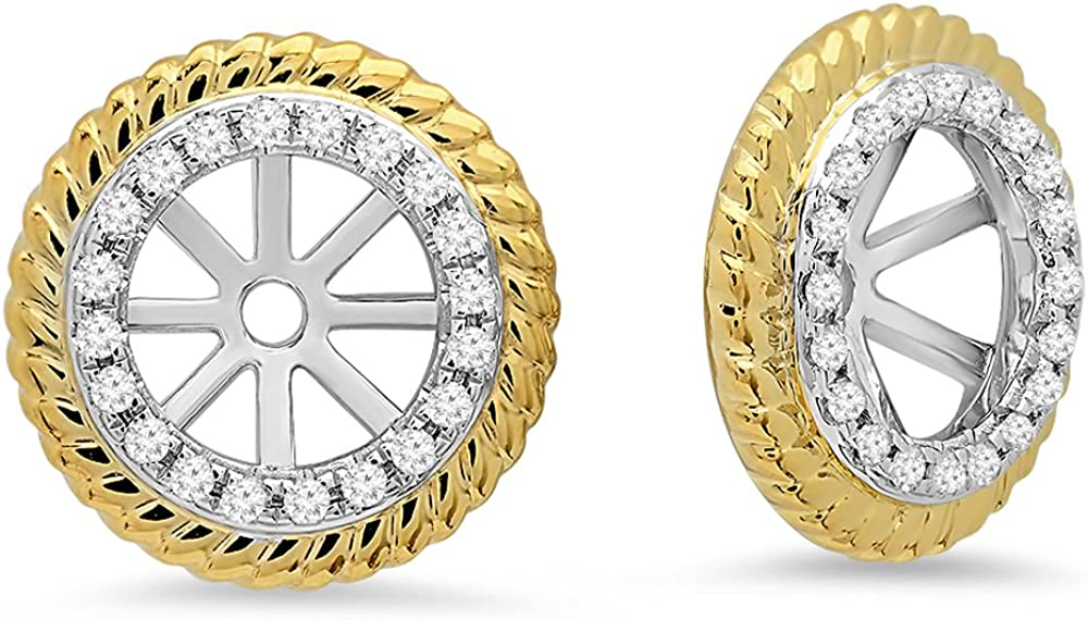 Dazzlingrock Collection 0.15 Carat (ctw) 14K White & Round Diamond Two Tone Removable Jackets For Stud Earrings, Yellow Gold