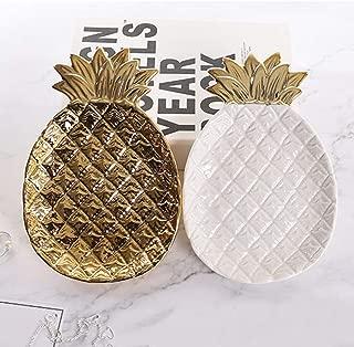 AllsuperDirect White,Gold Pineapple Jewelry Tray Decoration Household Storage Tray Decoration Crafts Pineapple Shaped Ceramic Plates, Jewelry Ring Dish Tray Organizer
