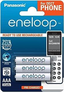Panasonic eneloop, Ready to Use Ni MH Akku, AAA Micro, 3er Pack, min. 750 mAh, 2100 Ladezyklen, geringe Selbstentladung, für Schnurlostelefone (DECT), wiederaufladbare Akku Batterie