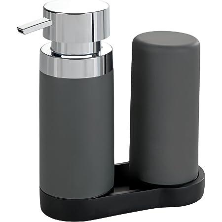 WENKO Station de lavage Easy-Squeeze, distributeur liquide vaisselle et distributeur savon liquide, gris