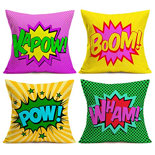 4 Comic Book Saying Words Pillow Covers