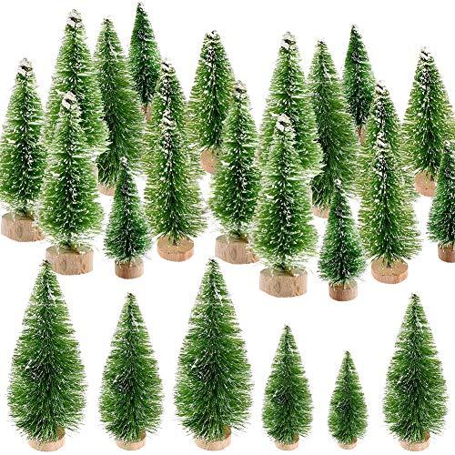 CHEPL Mini Navidad Village Trees 37PCS Árboles de sisal Mini Cepillo de Botella Verde Árboles para Navidad Decoración Artesanal de Bricolaje