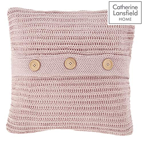 Catherine Lansfield Chunky Knit Cushion Cover 45x45cm Blush