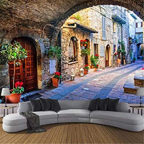 3D grote gebruikergedefinieerd wallpaper vliesbehang aangepaste fotobehang 3D muurafbeeldingen Italiaanse stad Street View Europese landschap wandbekleding, 430 cm * 300 cm