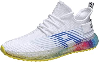 JJHAEVDY Mens Mesh Breathable Knitting Sneakers Fashion Rainbow Jelly Sole Outdoor Shoes Lightweight Running Tennis Shoes