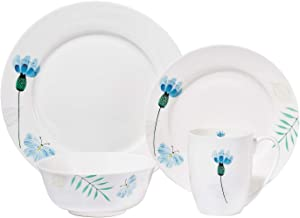 Chulan Floral Dinnerware Set, 4pc Bone China White Dishwasher Safe Plates Bowls Dish Sets, Ceramic Lightweight Tableware S...
