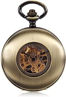 Lwieui Reloj de Bolsillo Tendencia Hollow Flip Reloj de Bolsillo mecánico Antiguo Mesa Colgante Masculina y Femenina Mesa ...