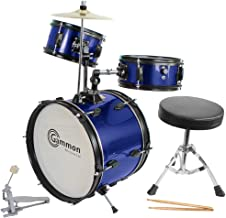 Blue Drum Set Complete Junior Kid's Children's Size with Cymbal Stool Sticks - Everything You Need to Start Playing