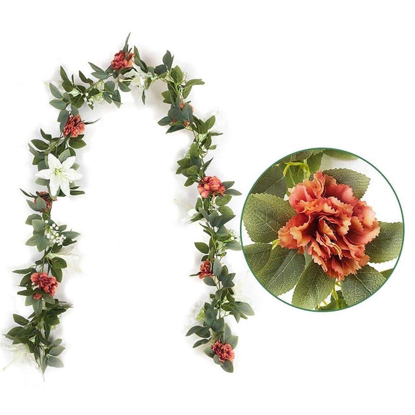 派手外部エスニック人工ユーカリガーランド、カーネーション付きのユーカリのつる、リリー、赤ちゃんの呼吸ウェディングパーティーの家の装飾用の人工植物