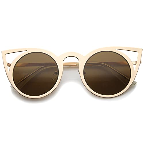 a07f5e688c Womens Fashion Round Metal Cut-Out Flash Mirror Lens Cat Eye Sunglasses