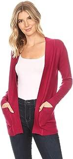 FashionJOA Women's Women's Open Front Pockets Knit Long Sleeve Sweater Cardigan