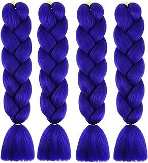 WAYDA 4Pcs Braiding Hair, Jumbo Braids Hair Extensions High Temperature Kanekalon Synthetic Ombre Twist Hair for Women(Blue)