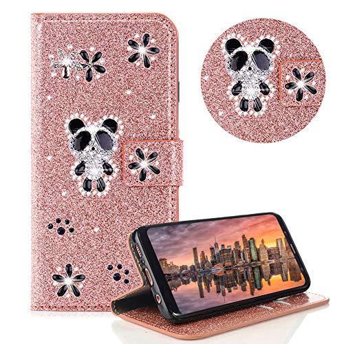 Glitzer Strass Brieftasche für Galaxy A6 2018,Rose Gold Leder Handyhülle für Galaxy A6 2018,Moiky 3D Magnetisch Kristall Niedlich Panda Blumen Diamant Hülle mit Kartenfächer Ständer